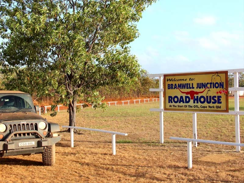 Sign outside the Junction Roadhouse at Bramwell Station in Cape York