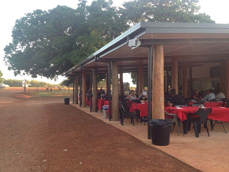 Guests enjoying lunch at the Bramwell Station Tourist Park in Cape York