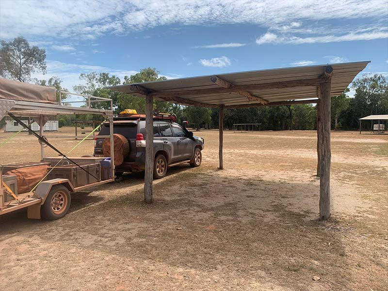 Undercover shelter camping ground at Bramwell Station Tourist Park in Cape York