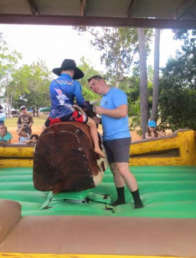 Bramwell Station Music Muster kids having fun on the bucking bull