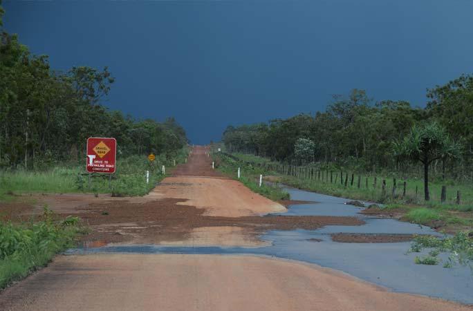 Wet Season causing floods on dirt roads in Cape York